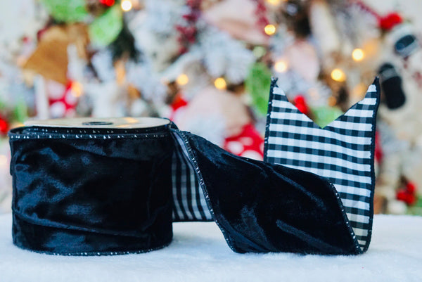 helloholidays,Black Velvet with Black and White Gingham Ribbon,dStevens,Ribbon