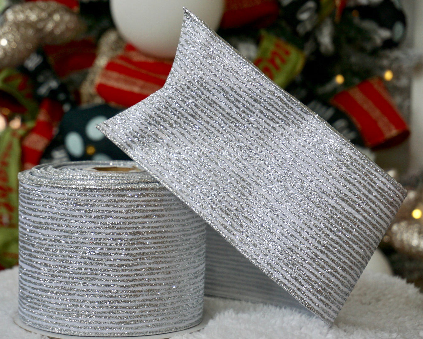 Silver & White Striped Glitter Ribbon