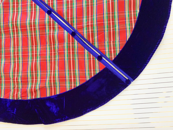 Nutcracker Plaid With Blue Velvet Trim Tree Skirt