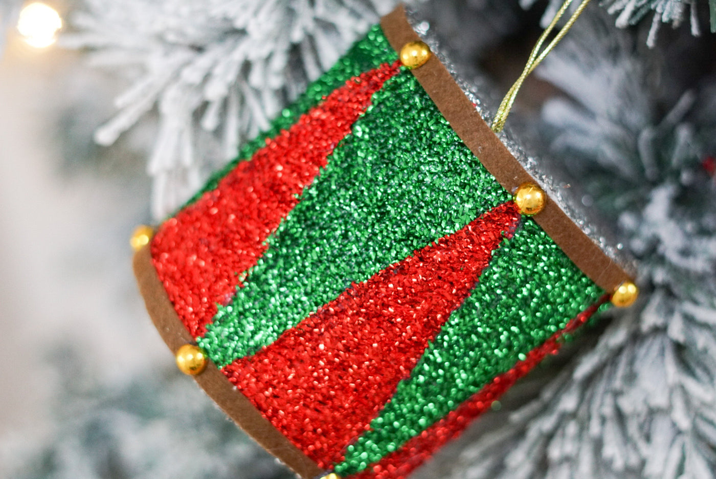 helloholidays,Red Green Tinsel Drum,Hello Holidays,.