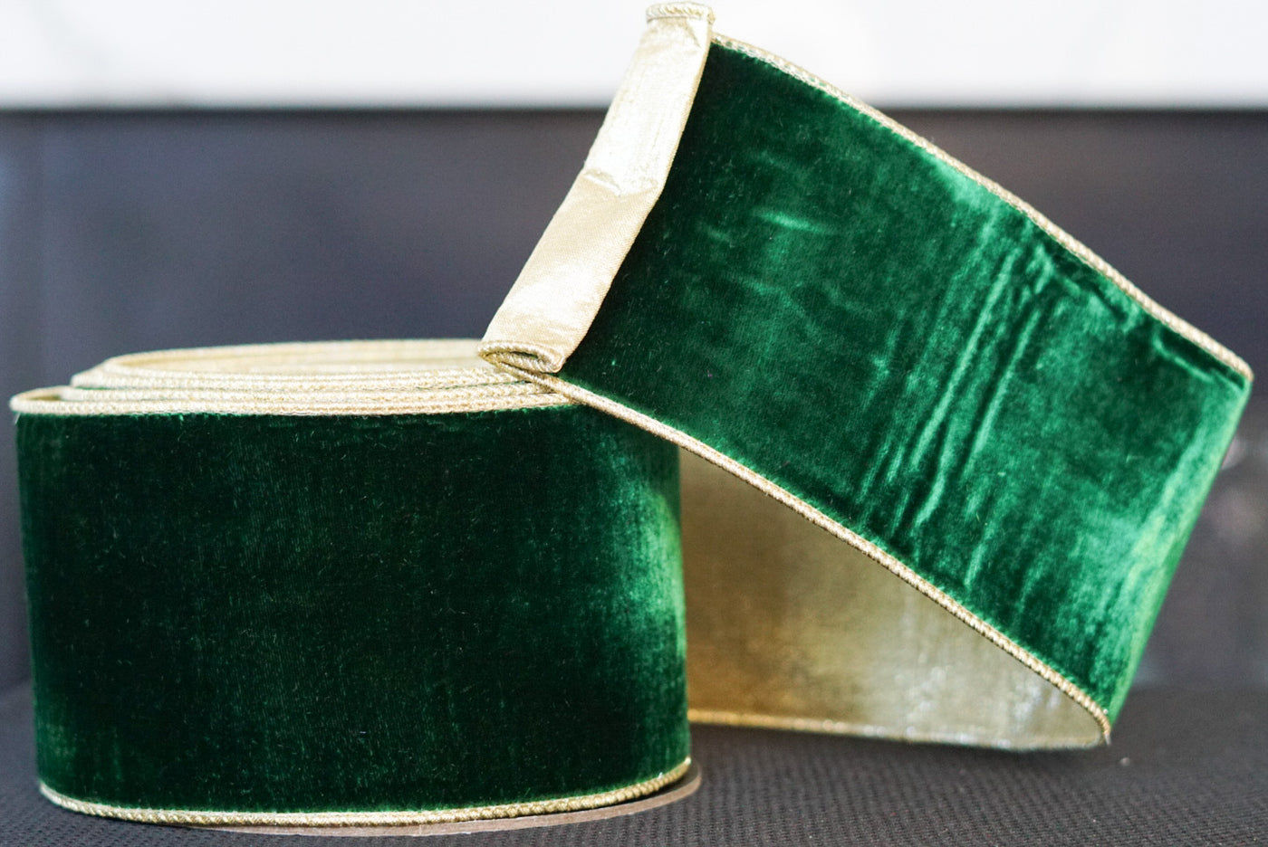 helloholidays,Green Velvet with Gold Satin Back and Edges,Farrisilk,Ribbon.