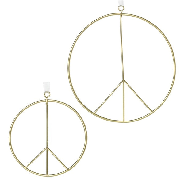 helloholidays,Extra Large Brass Peace Sign,Accent Decor,Ornament.