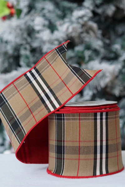 helloholidays,Tan Tartan Plaid with Red Back (two sided),Farrisilk,Ribbon