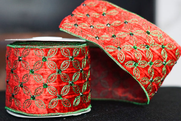 helloholidays,Red With Green Jewels and Embroidery,Lion,Ribbon.