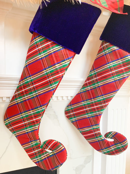 Nutcracker Plaid Stocking with Blue Velvet Border