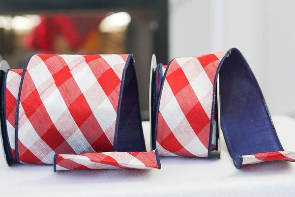 helloholidays,Red White Diagonal Check with Navy Back,D stevens,Ribbon.