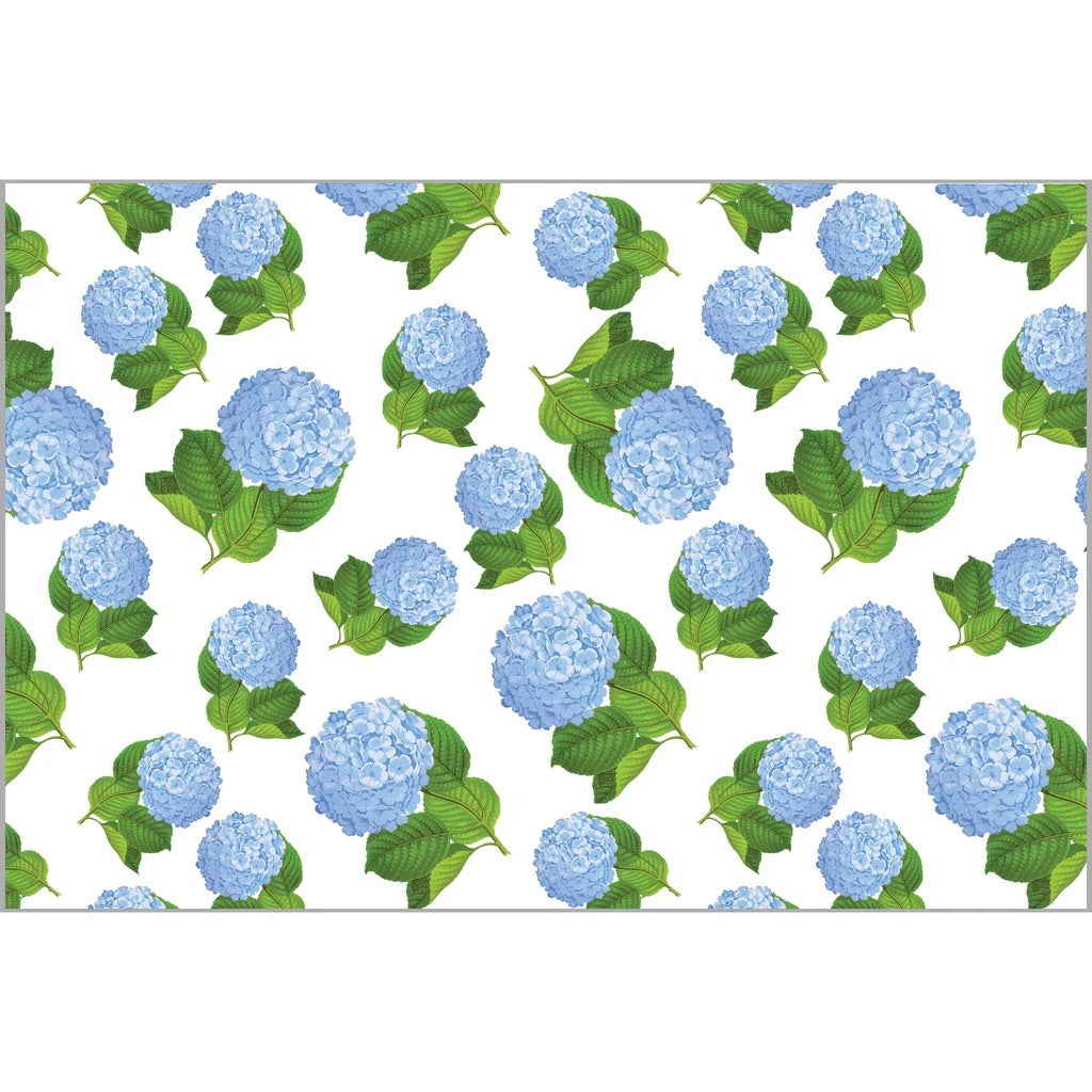 helloholidays,Blue Hydrangeas Paper Placemats,WH Hostess,Entertaining.