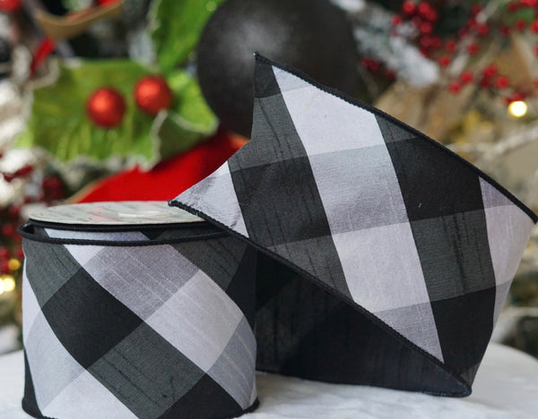 helloholidays,Black & White Wide Plaid Check Ribbon,Farrisilk,Ribbon