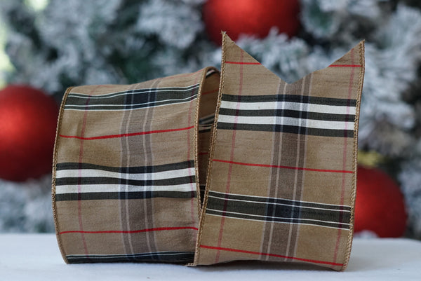 Tan Tartan Plaid Ribbon