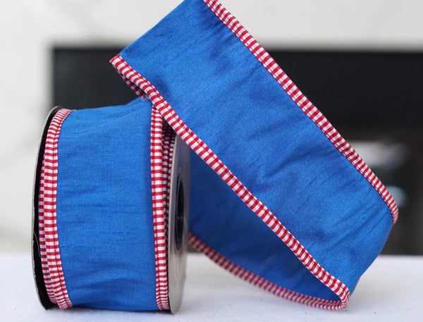 helloholidays,Royal Blue with Red and White Check,D.Stevens,Ribbon