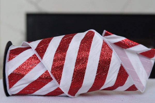 helloholidays,Glitter Diagonal Stripe Red and White-Extra Wide,D.Stevens,Ribbon