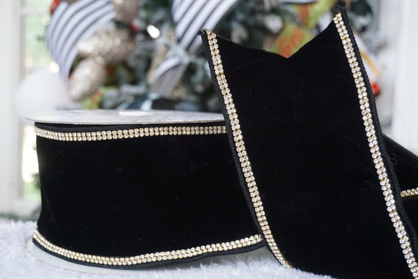 helloholidays,Back Ordered Black Royal Velvet Ribbon with Jewel Trim,Farrisilk,Ribbon