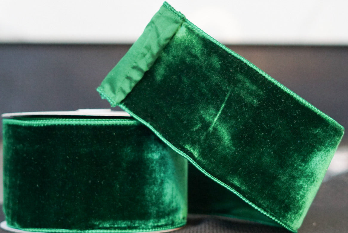 helloholidays,Emerald Green Velvet with Green Satin Back,Farrisilk,Ribbon.
