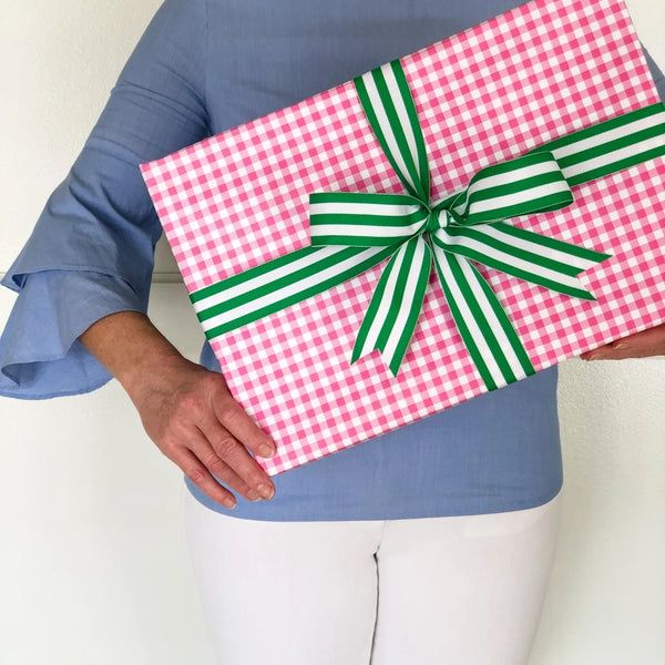 helloholidays,Hot Pink Gingham Check Gift Wrap,WH Hostess,Gift wrap.