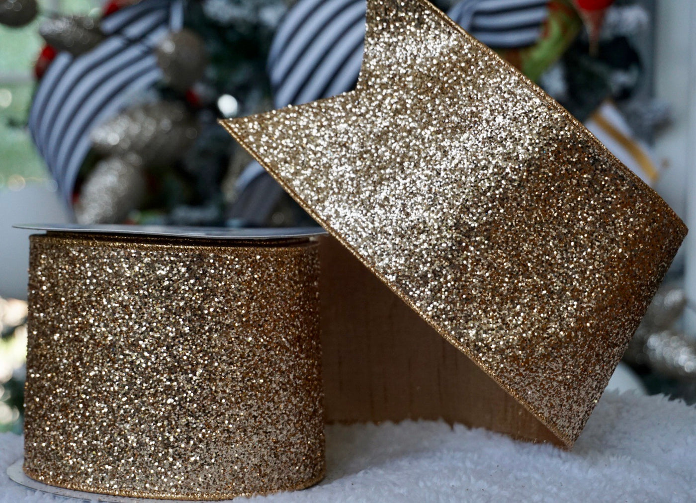 helloholidays,Rose Gold Glitter Ribbon with Gold Satin Back,Farrisilk,Ribbon