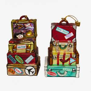 helloholidays - STACK SUITCASE ORNAMENT, 4 3/4 INCHES TALL - Kurt Adler - Ornament