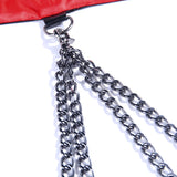 Rivet and chain details of red and black hood - DarkHorseClothingCompany