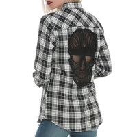 Skull Hollow Cut Women Plaid Flannel Button Down Shirt Dark Horse Clothing Company White Punk Rock Goth Cosplay Alt Style