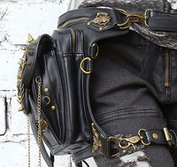 Genuine Leather Thigh Pouch Military Waist Pack Tactical Bag skull brown goth cosplay tomb raider bag purse fanny pack lara croft - DarkHorseClothingCompany