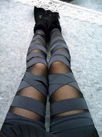 Bandage Leggings With Mesh Panels - Black