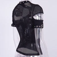 mesh goth cutout shirt - darkhorseclothingcompany