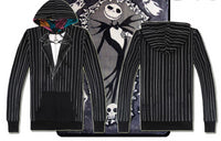Nightmare Before Christmas Jack Skellington and Sally Reversible Hoodie black goth hoodie zip up cosplay costume halloween - DarkHorseClothingCompany