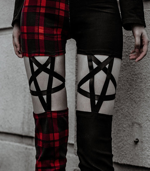 Plaid or Black Pentagram Leggings Pants Goth Cosplay www.darkhorseclothingcompany.com