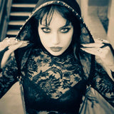 Goth girl wearing chained hood - DarkHorseClothingCompany