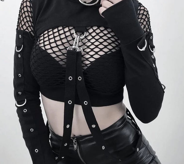 Black Hooded Crop Top with Studs and D-rings halloween cosplay goth - DarkHorseClothingCompany