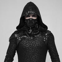 Dark Rave Black Leather Hood Harness Goth or Cosplay @darkhorseclothingcompany.com