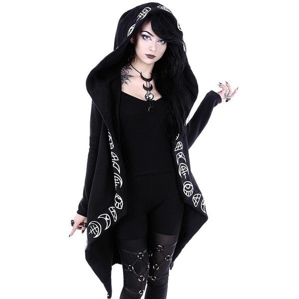 Woman Wearing Oversized Black Wiccan Hoodie Cardigan - darkhorseclothingcompany
