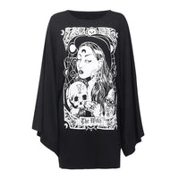 Black cotton dress with wicca design on front - darkhorseclothingcompany