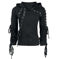 Womens Black Lace Up Hoodie grommet lace up zip hood goth rockstar concert dark horse clothing company