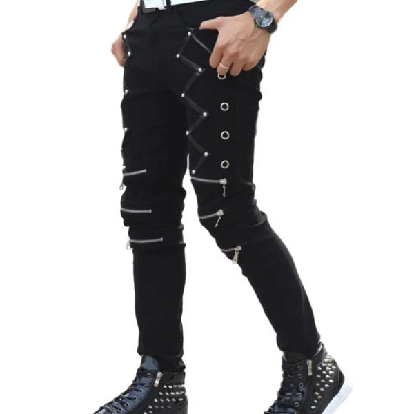 Mens Punk Skinny Jeans With Strap and Zipper Details Goth Biker Black Cosplay - DarkHorseClothingCompany