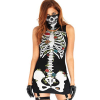 brunette girl with skeleton mini dress and skull mask goth cosplay halloween - DarkHorseClothingCompany