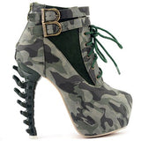 LIMITED EDITION - Lace Up Buckle Vertabrate High Heel Platform Ankle Boots Spine Goth Punk Cosplay Halloween Camo -DarkHorseClothingCompany