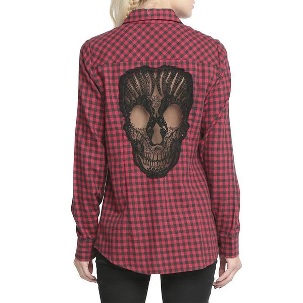 Skull Hollow Cut Women Plaid Flannel Button Down Shirt Dark Horse Clothing Company Red Punk Rock Goth Cosplay Alt Style
