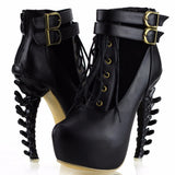 LIMITED EDITION - Lace Up Buckle Vertabrate High Heel Platform Ankle Boots Spine Goth Punk Cosplay Halloween Black -DarkHorseClothingCompany