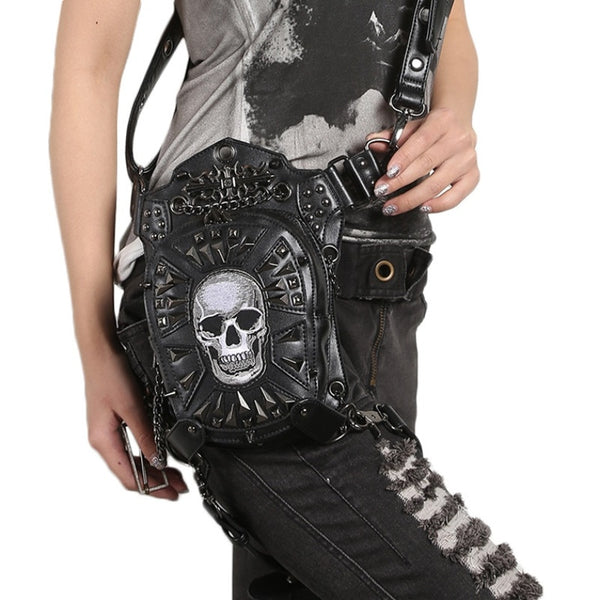 Faux Leather Skull Bag Combo Waist/Thigh/Leg/Cross Body/Fanny Pack Bag black goth punk rock biker motorcycle tomb raider cosplay - DarkHorseClothingCompany