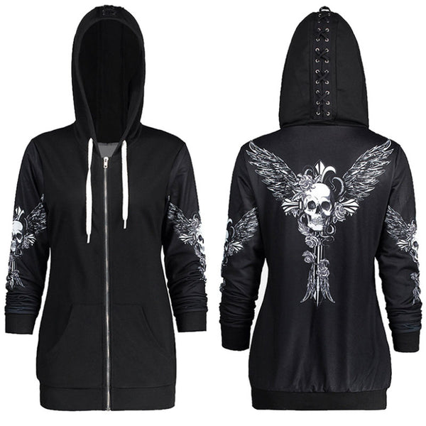 Black Zip Up Hoodie with Skull Wings and Corset Detail on Hood goth cosplay womens dark wings skull skeleton halloween - DarkHorseClothingCompany