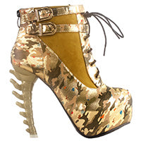 LIMITED EDITION - Lace Up Buckle Vertabrate High Heel Platform Ankle Boots Spine Goth Punk Cosplay Halloween gold -DarkHorseClothingCompany