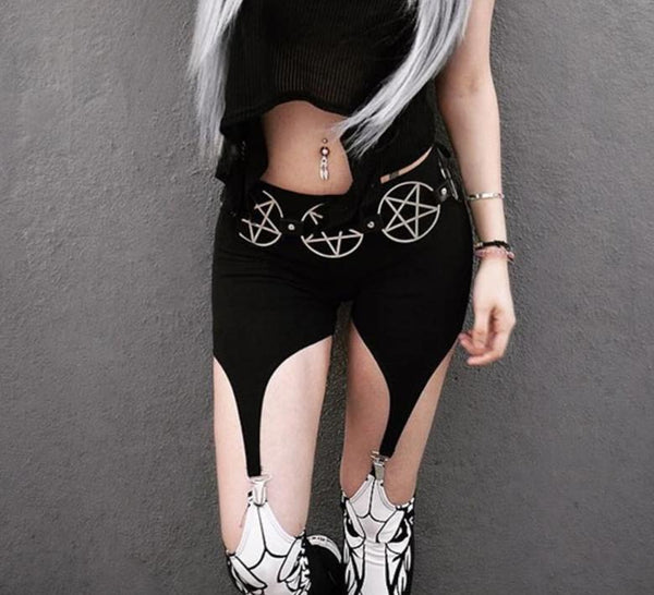 High Waist Black Baphomet Pants Skinny Suspender Leggings Goth Cosplay Satan Ritual Suspenders Stirrups Cosplay Rock