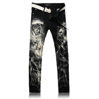 Men's Fashion Skull Printed Jeans Slim Fit Stretch goth demon skinny jeans punk metal cosplay black - DarkHorseClothingCompany