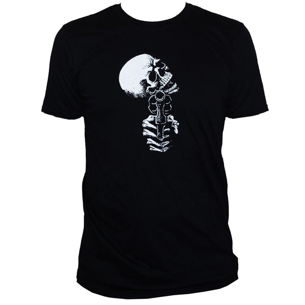 Men's Skull T Shirt Goth Rockabilly Graphic skull gun pistol revolver black white goth metal punk - DarkHorseClothingCompany
