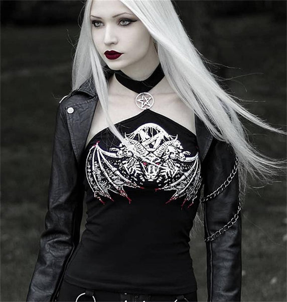 Blonde woman wearing gothic halter top with dragon demon skull wings - DarkHorseClothingCompany