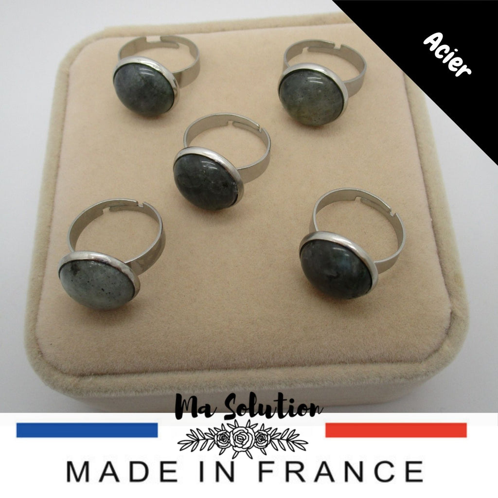BAGUE REGLABLE LABRADORITE - Ma Solution Bijoux
