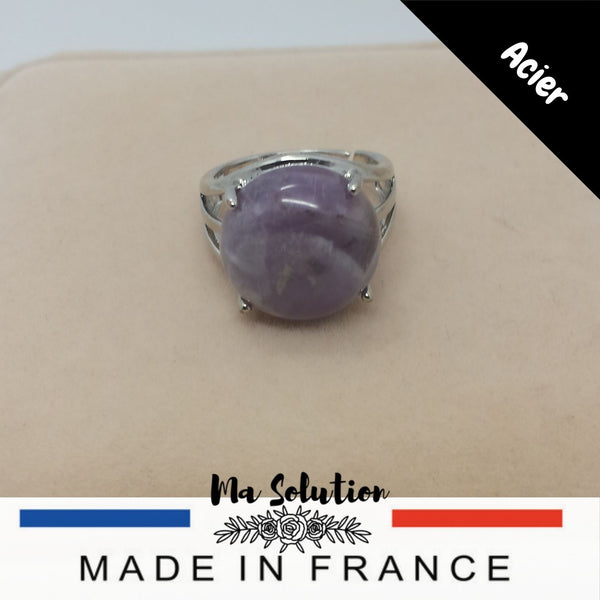 BAGUE REGLABLE AMETHYSTE GM - Ma Solution Bijoux