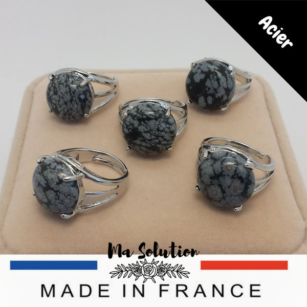 BAGUE REGLABLE OBSIDIENNE FLOCON DE NEIGE GM - Ma Solution Bijoux