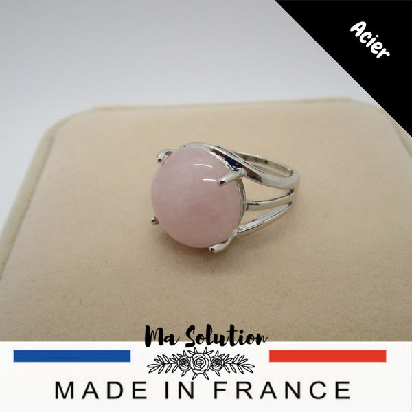 BAGUE REGLABLE QUARTZ ROSE GM - Ma Solution Bijoux