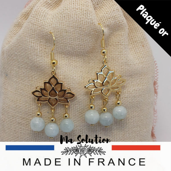 BOUCLES LOTUS AIGUE MARINE - Ma Solution Bijoux